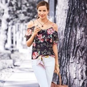 CAbi Fairy tale floral 5220 cold shoulder blouse